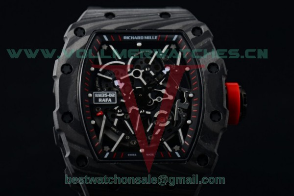 1:1 Richard Mille RM 35-02 RAFAEL NADA Miyota 9015 Skeleton Dial with PVD Case Black Rubber Strap RM 35-02